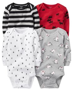 Baby Boy 4-Pack Long-Sleeve Bodysuits from Carters.com. 9m