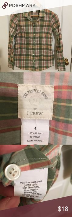 J Crew Perfect Shirt EUC J Crew Perfect Shirt (not factory!) crisp cotton Perfect Shirt in cute green and pink plaid. Still has the extra button attached. Smoke and pet free. Thanks for looking! J. Crew Tops Button Down Shirts