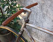 bicycle handlebar -round tip at both ends- leather monogram of your name-solid TEAK wood-genuine leather. $26.95, via Etsy.