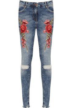 Jennifer Rose Accent Ripped Blue Skinny Jeans