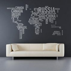 World map with graphic words. Cool