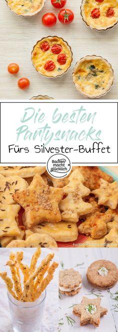 Tolle Sammlung mit vielen Ideen für Besondere Silvester-Snacks. Hier findest Du Inspiration für Partygebäck, Fingerfood und herzhafte Buffets. Ideal für Silvester!