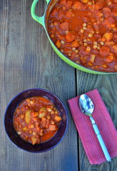 A spiced stew of chickpeas, sweet potato, baby potatoes, carrots and parsnips. A filling family meal that everyone will love. A tasty and healthy winter vegan dish. Great for dairy free diets.