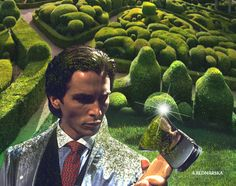 collage art / christian bale / patric cutman/ american psycho / gardening
