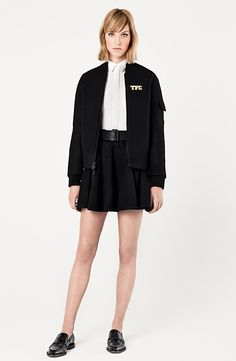 LE FASHION BLOG THE FASHION CLUB LOOKBOOK BLOGGER LULU CHANG LULU AND YOUR MOM FASHION LINE COLLECTION BOMBER KNIT JACKET SKATER SKIRT FLAT LOAFERS COLLARED BUTTON UP SHIRT***cute haircut