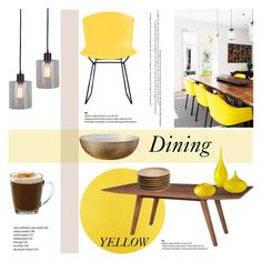"""""""Dining: Yellow"""" by helenevlacho ❤ liked on Polyvore featuring interior, interiors, interior design, home, home decor, interior decorating, Threshold, Dot & Bo, Anchor Hocking and Cyan Design"""