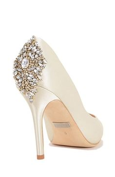 Jeweled Pumps by Badgley Mischka via Kleinfeld Bridal.