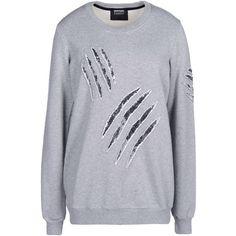 Markus Lupfer Sweatshirt ($171) ❤ liked on Polyvore featuring tops, hoodies, sweatshirts, sweaters, shirts, light grey, long sleeve shirts, markus lupfer top, long sleeve sequin top and long sleeve cotton tops