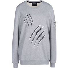 Markus Lupfer Sweatshirt ($171) ❤ liked on Polyvore featuring tops, hoodies, sweatshirts, sweaters, shirts, light grey, long sleeve tops, sequin sweatshirt, long sleeve sweatshirt et sequin top