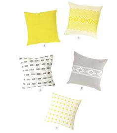 Shop our handwoven yellow, white and gray pillows to complete the look - Bolé Road Textiles