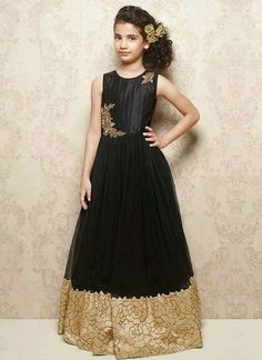 Shop readymade black soft net kids gown , freeshipping all over the world , Item code Frocks For Girls, Kids Frocks, Gowns For Girls, Kids Outfits Girls, Cute Outfits For Kids, Little Girl Dresses, Girl Outfits, Girls Dresses, Kids Indian Wear