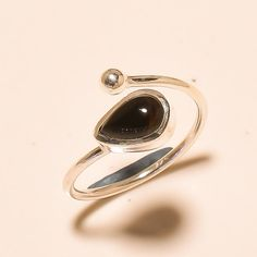 92.5%SOLID STERLING SILVER UNIQUE BLACK ONYX CAB'S PEAR SHAPE RING (Adjustable)  #Handmade