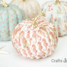 Mod Podge Fall Coastal Theme Pumpkins | Crafts by Courtney - featured on DETAILS http://carolynsdetails.blogspot.com/