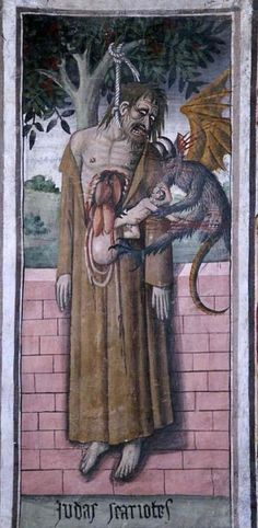 """""""In Canavesios vivid fifteenth-century mural in Notre Dame des Fontaines in La Brigue, France, we witness Judas hanging from an olive tree after the betrayal of Jesus. Looks like a devil/demon is taking his soul. Medieval Manuscript, Medieval Art, The Dark Side, Horror, Medieval Paintings, Angels And Demons, Pics Art, Religious Art, Macabre"""