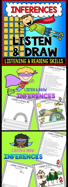 Superhero themed listening lesson that also incorporates inferences and writing. Perfect for back to school or when your students need to refocus. Comprehension Activities, Reading Strategies, Reading Skills, Reading Games, Reading Workshop, Reading Comprehension, Writing Traits, Writing Ideas, Writing Prompts