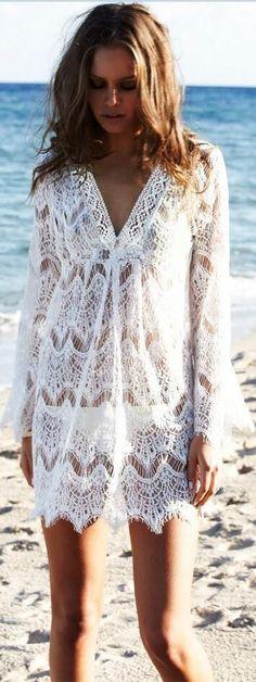 Hook Flower Hollow Out Beach White Short Dress