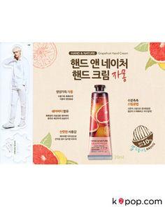 K2POP - EXO-K SEHUN HAND & NATURE GRAPEFRUIT HAND CREAM (2PCS) + SEHUN STANDEE (1PC) Exo K, Baekhyun, Exo Merch, Nature Republic, Hand Cream, Cosmetics, Grapefruit, Mango, Apple