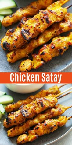 Delicious chicken satay or grilled chicken skewers marinated with spices and served with peanut sauce. Easy, authentic and the best chicken satay recipe you'll find online! Pollo Satay, Thai Chicken Satay, Grilled Steak Recipes, Baked Chicken Recipes, Healthy Chicken, Keto Chicken, Grilled Chicken Marinades, Thai Grilled Chicken, Cashew Chicken