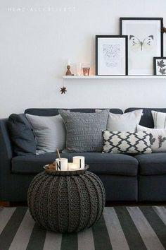 Cojines y puff en el sofá #Cojines: el básico más renovador para tu #decoración
