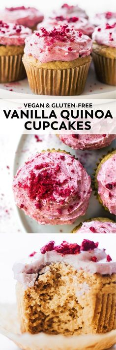 A healthier birthday (or any day) treat – Quinoa Flour Cupcakes with just 7 ingredients and creamy pink coconut berry frosting on top!