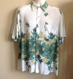 Vintage 90's Everest Collection Mens Rayon Hawaiian Cabana Aloha Shirt Large Free Shipping $19.25