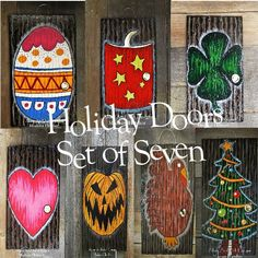 Nightmare Before Christmas Inspired/Holiday Doors Set of 7, Christmas, Halloween, Valentines, Independence Day, St. Patricks, Easter, Turkey by AlderAndAshDesigns on Etsy