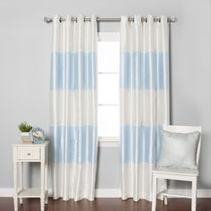 Drapes & Curtains - Striped Dupioni Faux Silk Grommet Top Blackout Curtain – Oxeme Home