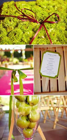 Apple green and green apples! Wedding decor from Fiore Blossoms via Fiore fresco; Photos by Sarah Rhoads Photography