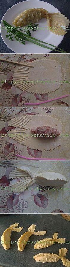 Techniques gastronomiques : farce enrobée de pâte, en forme de poisson chinois