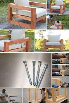 Diy Outdoor Furniture, Outdoor Garden Furniture, Deck Furniture, Furniture Projects, Wood Patio Chairs, Outdoor Chairs, Woodworking Projects Diy, Woodworking Plans, Diy Deck