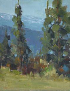 "Original Oil Landscape Painting ""Distant Mountains"" by Colorado Landscape Artist Barbara Churchley"