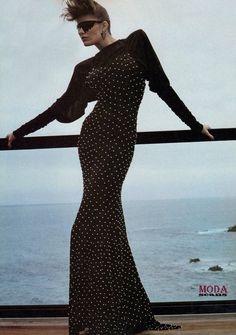Summer…On the Line!  Vogue US, April 1983  Photographer: Helmut Newton  Model: Leticia Lucas  Dress by Norma Kamali