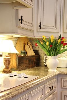 Savvy Southern Style: A Kitchen Corner... I love, love, love the idea of having a lamp on the kitchen counter!
