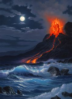 PELE!!!!  There are several traditional legends associated with Pele in Hawaiian mythology. In addition to being recognized as the goddess of: fire, lightning, wind, and volcanoes Pele is also known for her creative power, passion, purpose, and profound love.