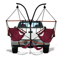 Mount this trailer hitch stand and chairs combo on your truck, SUV or RV to give your tailgating party or camping trip a dash of extra luxury. The chairs feature detachable footrests, cup holder, and