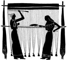 in ancient greece a loom was used to create textiles. It was actually considered a respectable responsibility to create the fabrics. Card Weaving, Tablet Weaving, Loom Weaving, History Of Textile, Ovid Metamorphoses, Textiles, Construction, Ancient Greece, Ancient Art