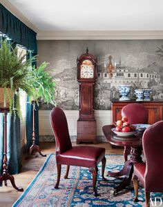 A Gracie wallpaper depicting views of the Turkish coastline animates the dining room   archdigest.com
