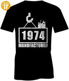 Manufactured 1974 - Rundhals-T-Shirt Männer-Herren - hochwertig bedruckt mit lustigem Spruch - Die perfekte Geschenk-Idee - Shirts mit spruch (*Partner-Link)