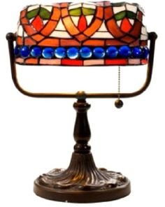 Warehouse of Tiffany Stained Glass Desk Lamp with Blue Gemstones, One Size, Multi-Color Bankers Desk Lamp, Led Desk Lamp, Glass Desk, Glass Art, Tiffany Table Lamps, Tiffany Art, Lamps For Sale, Steampunk Lamp, Blue Gemstones