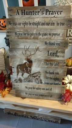 Thanks for stopping by BOXED CREATIVITY! The Hunters Prayer is a favorite of many. Its such a great prayer that any great hunter will agree with. This Hunters Prayer has an elk, I believe, on it. Just want to clarify that it is NOT a white tail. Let me know if I am wrong on the elk. :) I do have others made with a white tail buck on them. This is made from reclaimed pallet wood. The letters are done with gel medium and laser printer ink. Its a time consuming process but I love the look...