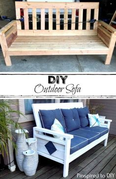 Free woodworking plans to build a DIY Outdoor Sofa or Couch. Add some comfy deco. Free woodworking plans to build a DIY Outdoor Sofa or Couch. Add some comfy decor to your porch or deck with this comfy . Outdoor Sofa, Outdoor Furniture Plans, Diy Furniture Plans Wood Projects, Diy Furniture Couch, Outdoor Decor, Space Furniture, Building Furniture, Furniture Storage, Furniture Online