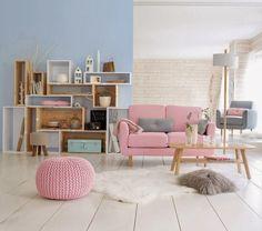 Collection déco style scandinave printemps été 2014 La Redoute canapé rose pastel fauteuil bleu ciel étagère modulable déstructurée style stacked de Muuto pas cher table basse bois clair
