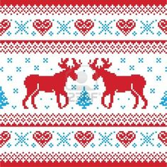 Christmas and Winter knitted pattern, card - scandynavian sweater style stock vector clipart, Red and blue Xmas seamless background with rei. Fair Isle Knitting Patterns, Knitting Charts, Knitting Stitches, Knit Patterns, Cross Stitch Patterns, Knitted Christmas Stockings, Christmas Knitting, Christmas Cross, Christmas Sweaters