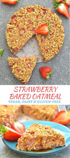 This strawberry baked oatmeal is the perfect no fuss make ahead breakfast. Quick, easy, healthy & full of sweet strawberry & vanilla flavour! via @avirtualvegan