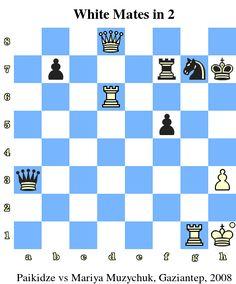 White Mates in 2. Paikidze vs Mariya Muzychuk, Gaziantep, 2008 www.jouer-aux-echecs.com #echecs #chess #jeu #strategie