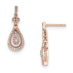 14K Rose Gold Polished Diamond Post Earrings