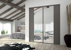 KAZED - portes de placard coulissantes Kontrast Châtaigne et miroir Argent enrobé châtaîgne