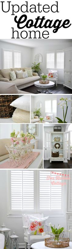 Cottage Decor - Updated white living room, dark wood floors, plantation shutters, diy projects galore.