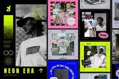 Neon era social media graphic by Chanut is industries on @creativemarket Social Media Template, Social Media Design, Social Media Ad, Graphic Design Posters, Graphic Design Inspiration, Web Design, Instagram Post Template, Instagram Design, Branding