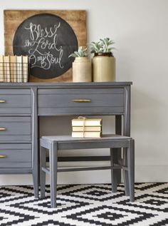 Gray painted desk